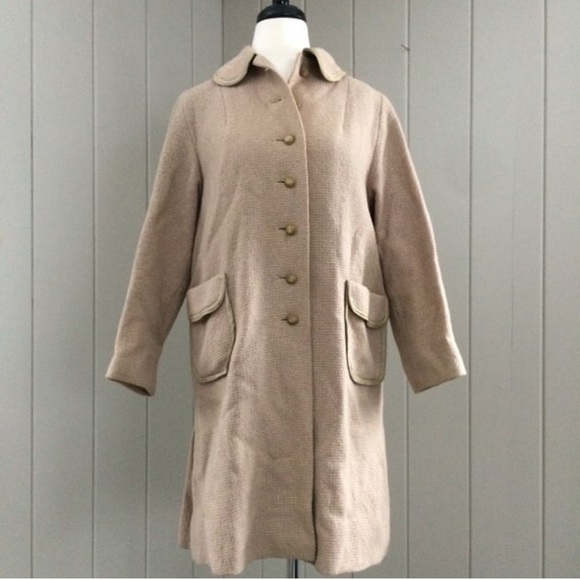 Vintage Jackets & Blazers - Vintage 1960s Car Coat Tan Single Breasted Buttons